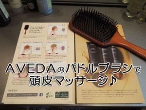 AVEDA(アヴェダ)のパドルブラシで頭皮マッサージ