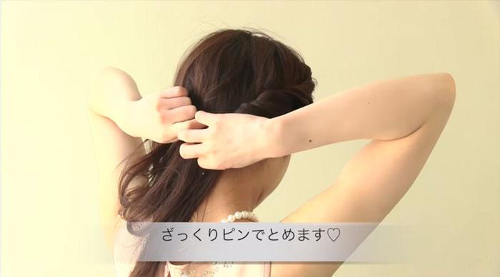 エルサ風の髪型、ねじねじをとめる