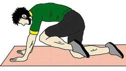 おしり筋トレ:足を引きつける