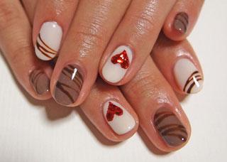 なんとなくチョコっぽいバレンタインネイル