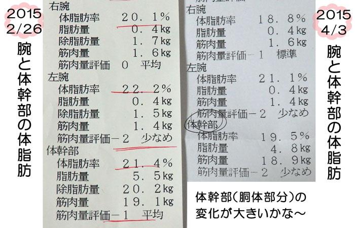 腕と体幹部の体脂肪率の変化