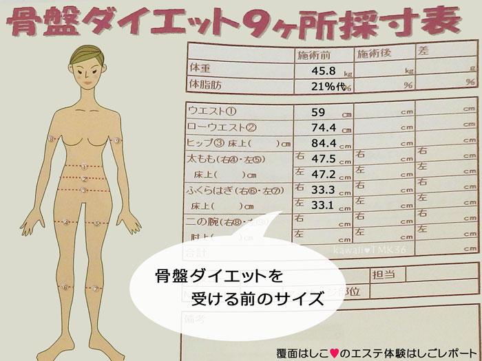 スリムビューティーハウス体験前のサイズ&体重