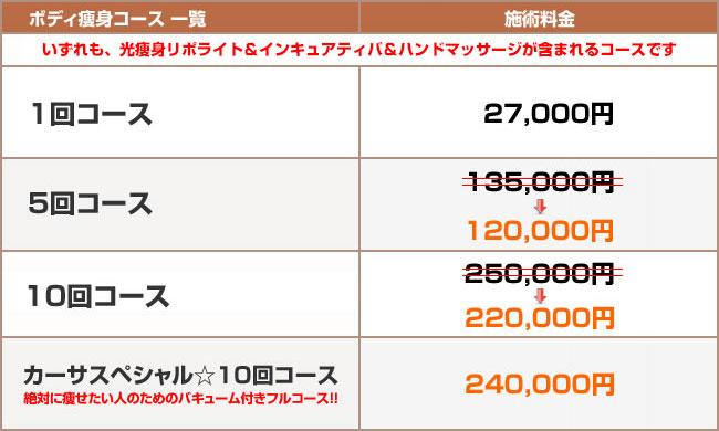アポリネールカーサ光痩身(リポライト)のコース料金表