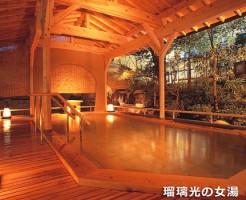 山代温泉 瑠璃光の大浴場 女湯の露天風呂 月光の湯