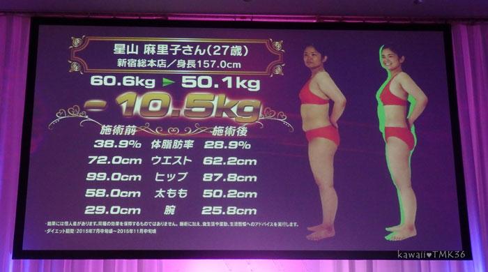 スリムクイーンコンテストで10.5kg痩せた女性(横向き)