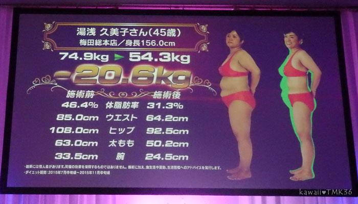 スリムクイーンコンテストで20.6kg痩せた女性(横向き)
