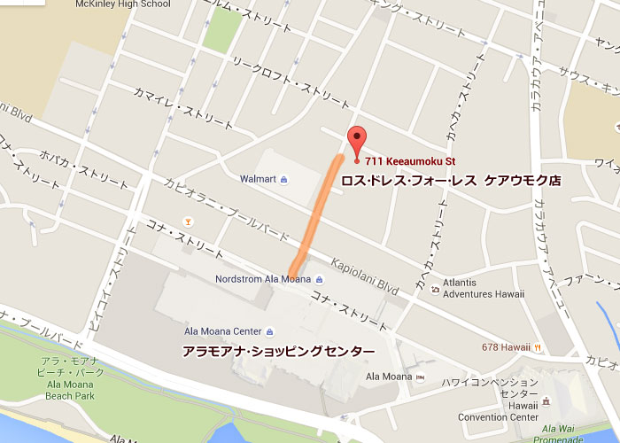 ROSS DRESS FOR LESS(ロス ドレス フォー レス)ケアウモク店の地図