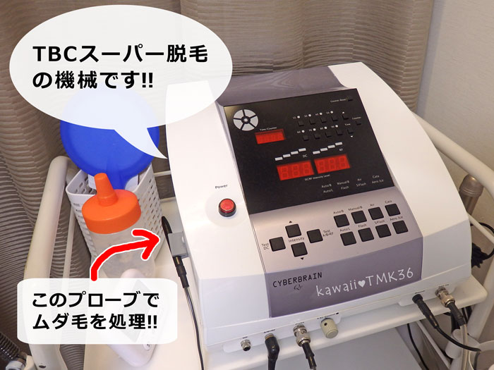 TBCスーパー脱毛(美容電気脱毛)の機械