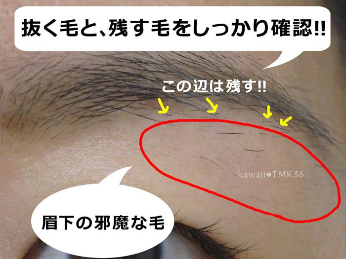 TBCスーパー脱毛で抜く眉毛を確認