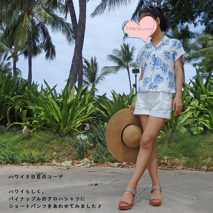 ハワイ2日目は、定番柄のパイナップルのアロハシャツにショートパンツ(ハワイコーディネート)