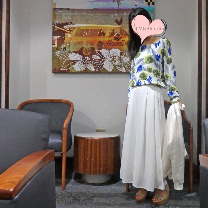 花柄ニット×スカンツ