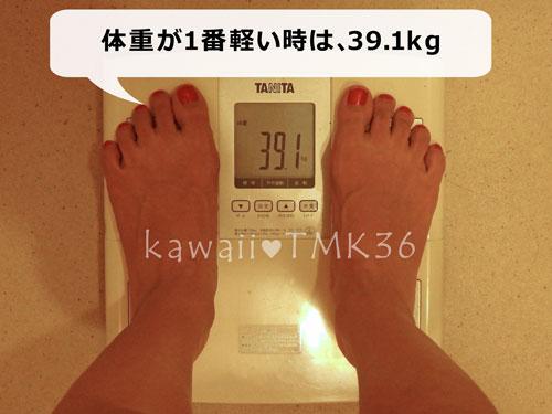 覆面はしこの体重は、1番軽い時で39.1kg