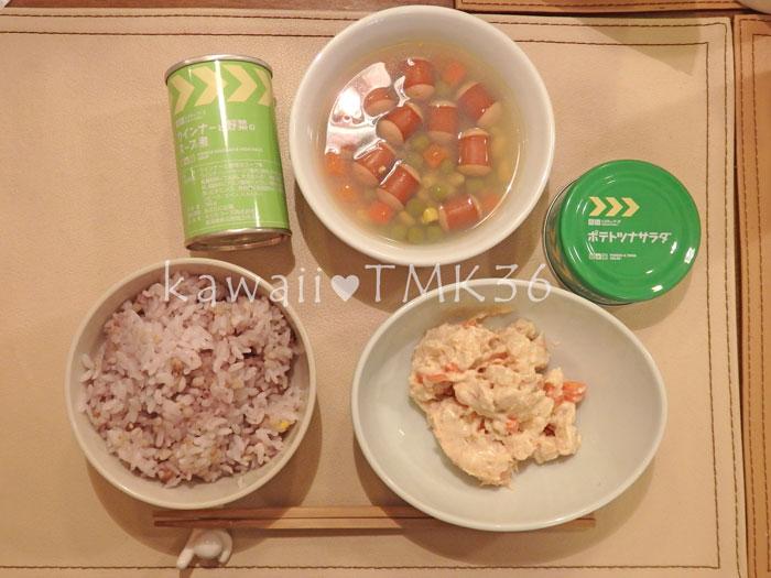 レスキューフーズ~ポテトツナサラダ、ウィンナーと野菜のスープ煮~