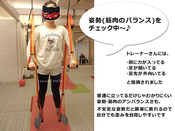 シルクサスペンションで姿勢(筋肉のバランス)チェック