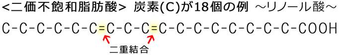二価不飽和脂肪酸 ~炭素(C)が18個の例~ リノール酸