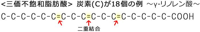 三価不飽和脂肪酸 ~炭素(C)が18個の例~ γーリノレン酸