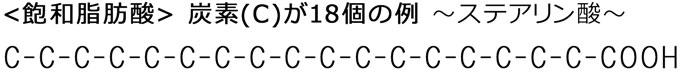 飽和脂肪酸 ~炭素(C)が18個の例~ ステアリン酸